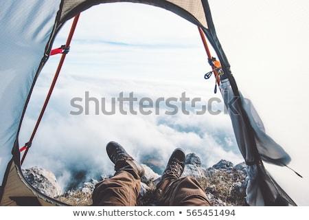 Extrême explorateur forêt sport coucher du soleil corps Photo stock © ajlber