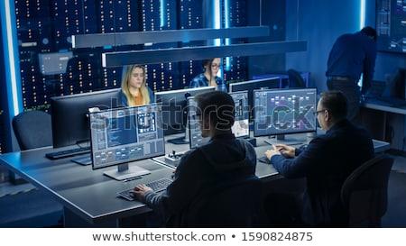 Stock fotó: Fiatal · mérnökök · dolgozik · iroda · számítógép · nő