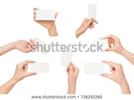 Kézzel készített papír kártya nő kéz izolált Stock fotó © Taigi