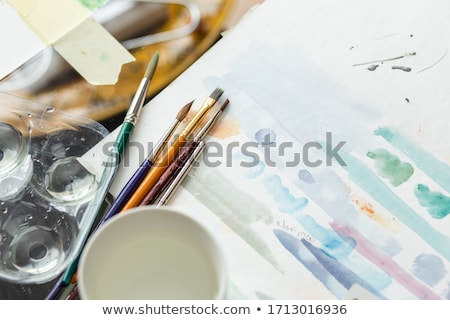 testing watercolor paints on an artists canvas stock photo © latent