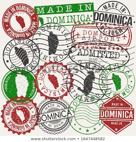 Vektor címke Dominika szín bélyeg vásár Stock fotó © perysty