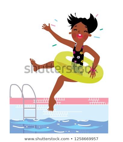 children girl jumping to the blue pool black swimsuit stock photo © lunamarina
