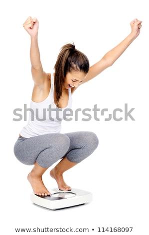 Boldog fogyókúra lány fiatal nő el izolált Stock fotó © ArenaCreative