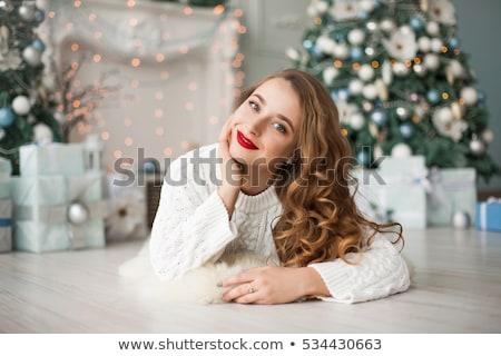 Foto stock: Mulher · natal · decorações · cabelo · quadro · cara