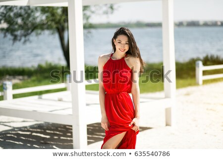 肖像 女性 赤いドレス ビーチ 美しい 見える ストックフォト © roboriginal