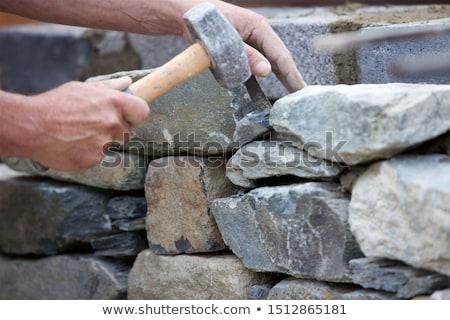 Mason budynku ściany budowy pracy powrót Zdjęcia stock © photography33