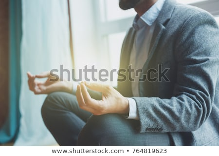 Stock fotó: üzletember · meditáció · ül · padló · üzlet · kéz