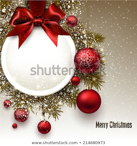 christmas offer red circle banner with snowflakes symbol Stock photo © marinini
