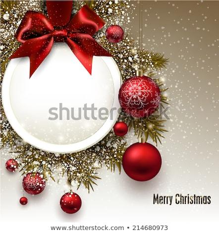 karácsony · ajánlat · boldog · lány · mikulás · sapka · piros - stock fotó © marinini