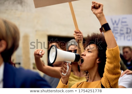 young group with megaphone Stock photo © get4net