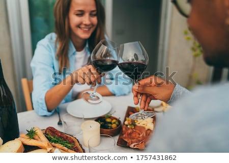 lachend · paar · eten · diner · samen · glimlach - stockfoto © wavebreak_media