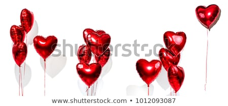 Сток-фото: Colorful Heart Balloons Set Isolated On White Background