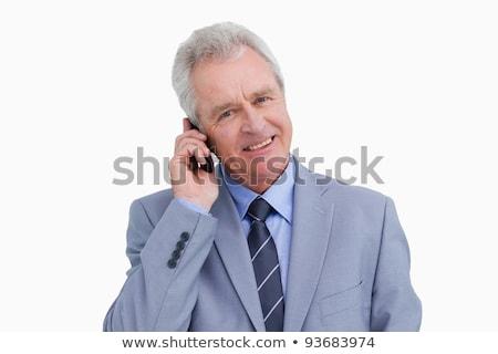 glimlachend · volwassen · mobieltje · witte · man - stockfoto © wavebreak_media