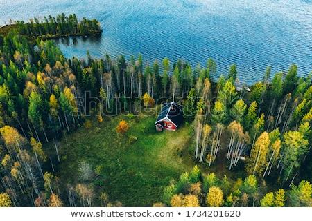 Fából készült ház közelkép fotó fa építkezés Stock fotó © kyolshin