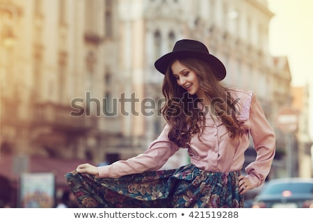 model with cloth flower Stock photo © zastavkin