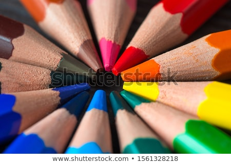 Colorful pencils collection arranged in circle stock photo © make