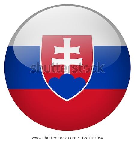 Vidro botão bandeira Eslováquia vermelho arco Foto stock © maxmitzu