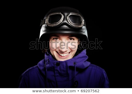 Stock photo: girl with us army style motorcycle helmet