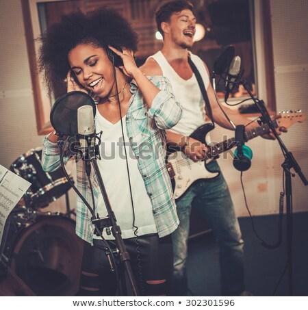 rock · star · sexy · kobieta · śpiewu · karaoke · kobieta · strony - zdjęcia stock © tobkatrina