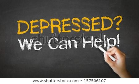 Stock photo: Depressed we can help Chalk Illustration