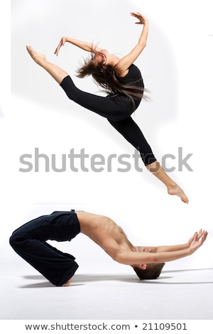 Akrobatikus tánc pár szenzáció izolált fehér Stock fotó © stepstock