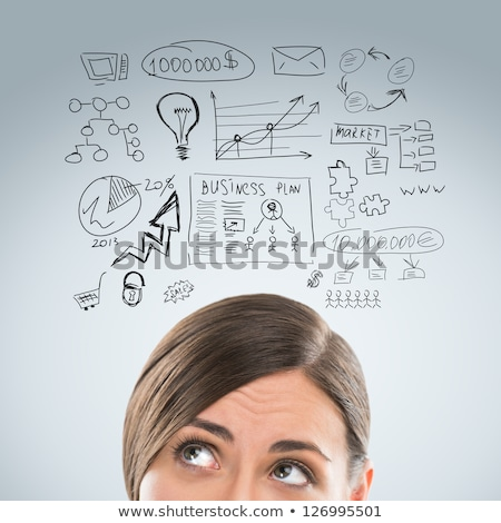 Young pretty woman thinking of her plans closeup face portrait a Stock photo © hasloo