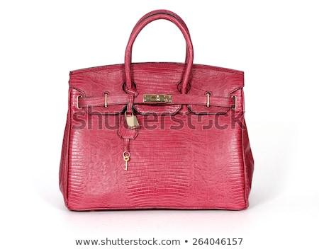 紫色 革 ハンドバッグ 手 袋 ストックフォト © shanemaritch
