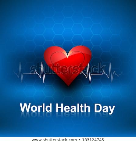 Beautiful Heart beats World health day concept with blue colorfu Stock photo © bharat