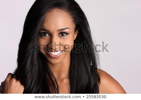 belo · africano · americano · mulher · megafone · mão - foto stock © dash