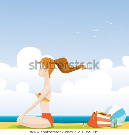 Beautiful redhead girl on the beach at sunny day Stock photo © Nejron