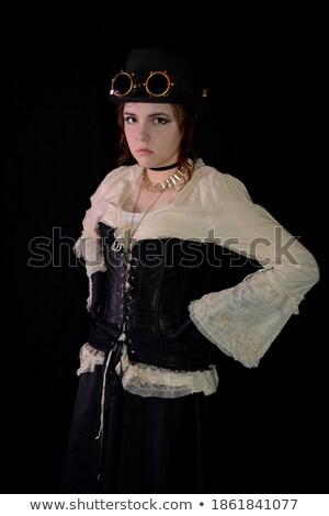 attractive steam punk girl standing stock photo © nejron