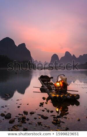 Li river vertical landscape in Yangshuo Guilin Stock photo © weltreisendertj