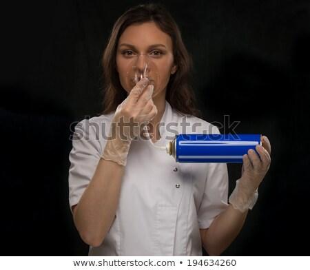 jonge · vrouw · zuurstofmasker · jonge · afrikaanse · vrouw - stockfoto © hasloo