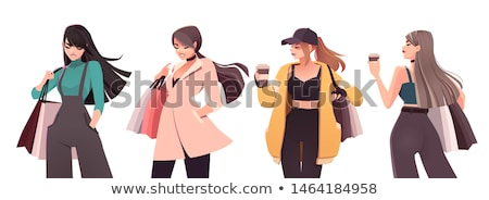 cute shopping lady with bags vector colored illustration stock photo © leonido