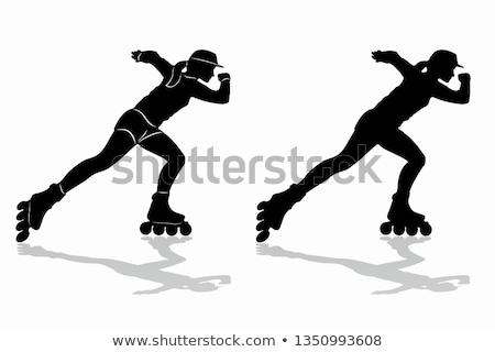 фигурист иллюстрация силуэта белый городского скорости Сток-фото © leonido