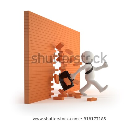 3d small people   through a brick wall stock photo © anatolym