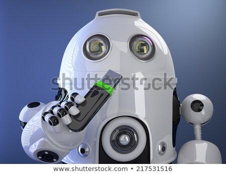 Robot tart usb emlék bot vágási körvonal Stock fotó © Kirill_M