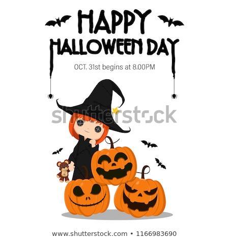 Stockfoto: Gelukkig · halloween · weinig · heks · pompoen · pop