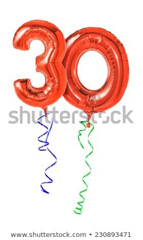 Piros léggömbök szalag szám 30 buli Stock fotó © Zerbor