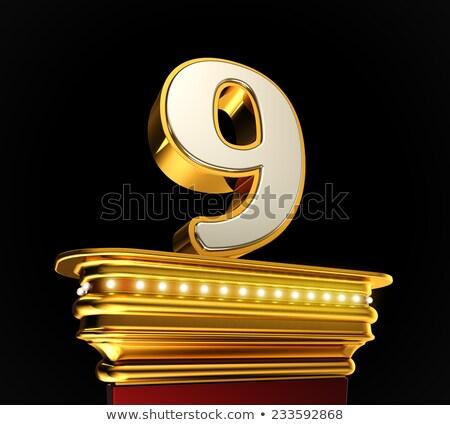 Numer dziewięć złoty błyskotliwy światła Zdjęcia stock © creisinger