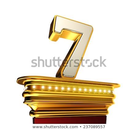 Número sete dourado branco brilhante Foto stock © creisinger