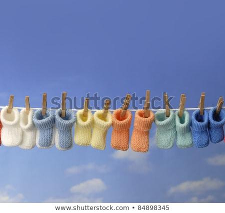 Stock fotó: Aba · Conceptcolorful · Baby · Csizmák · lógnak · egy · Ruhavonal