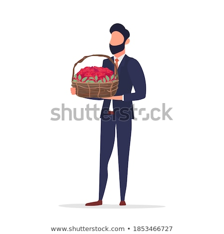 business man holding bouquet of red roses in his hand stock photo © feedough