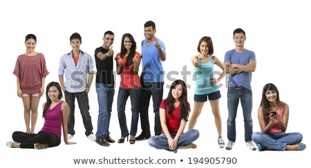 Full length portrait of a students standing in a row over white background Stock photo © deandrobot