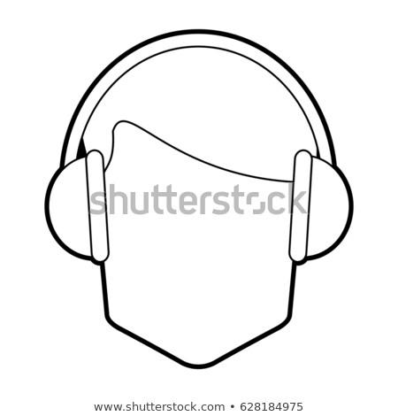 Man wearing headset with stereo headphones stock photo © juniart