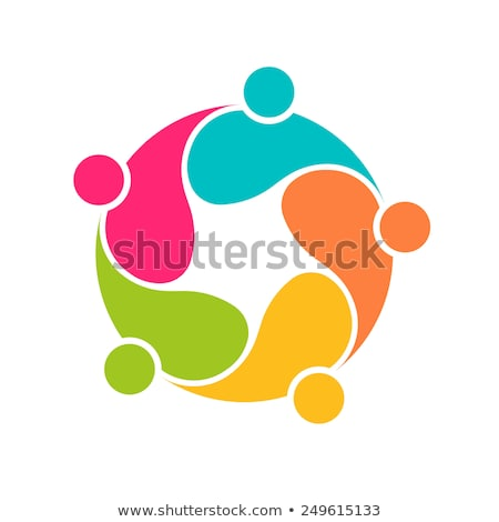 Teamwork 5 circle interlaced.Concept group of connected people Stock photo © joseph_arce