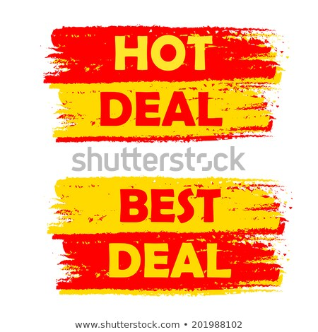 Super And Best Deal Yellow And Red Drawn Labels Foto stock © marinini