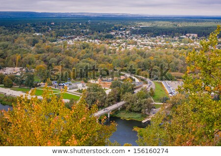 beautiful autumn city with the river svyatogorsk ukraine stock photo © galyna_tymonko
