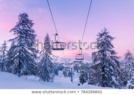 Ski chair lift on mountains Stock photo © romitasromala
