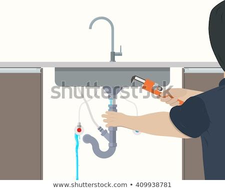 Idraulico sink cucina uomo lavoro Foto d'archivio © wavebreak_media